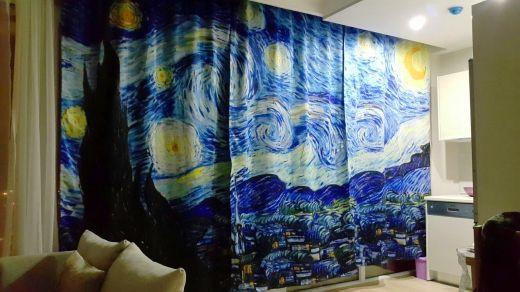 Vincent Van Gogh - Yıldızlı Gece 3 Kanat Perde Seti