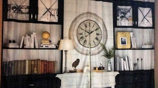 Grey Bookcase - Fireplace - Clock