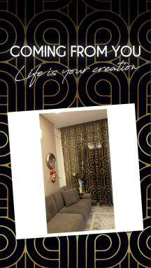 Art Deco No:5 Black Background-Gold Light 2 Sheer Curtain