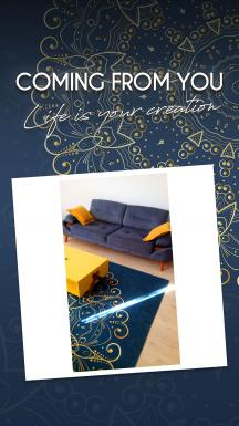 Navy Blue&Golden Mandala Printed Carpet