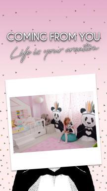 Romantic Panda Pink Curtain By İmren Gürsoy