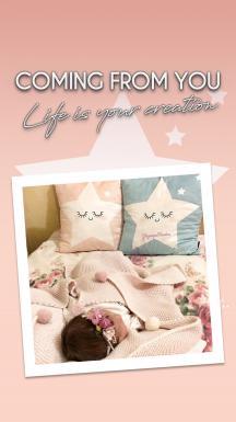 Cute Sleeping Stars Pink Pillow