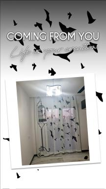 Bird Cage and Free Birds Tulle Curtain 2 Pieces