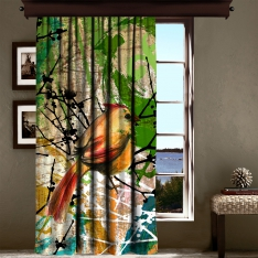 Bird Patterned Curtain 1 Piece