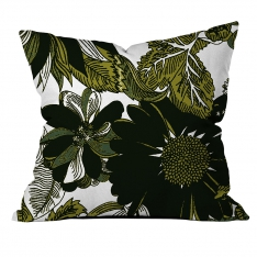 Tropical Leaves and Flower Cushion