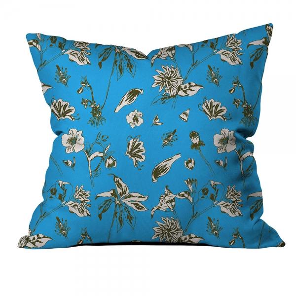 Tropikal Çiçekli Mavi Kırlent
