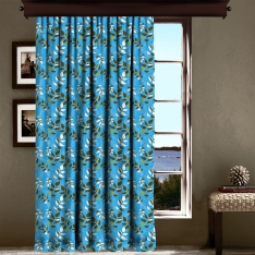 Tropical Flower Blue Curtain