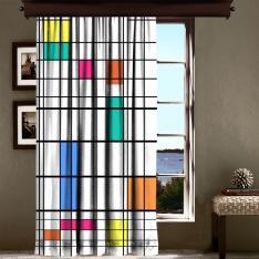 Piet Mondrian - Renk ve Çizgi Tek Kanat Fon Perde 240 CM