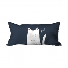 Illusration White Cat ''YES'' Cushion