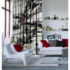 Santa And Deers in Winter View (Chirstmas) Curtain
