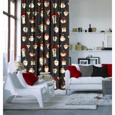 Illusration Santa Claus Curtain Grey