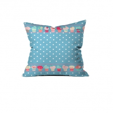 Cupcake Pattern Blue Cushion