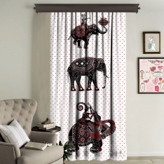 Ethnic Elephants Illustration Panel Curtain
