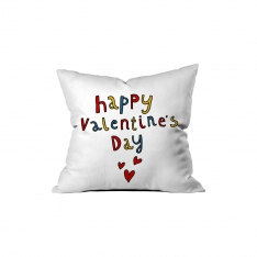 ''Happy Valentine's Day'' Renkli Yazılı Kırlent Sev.G