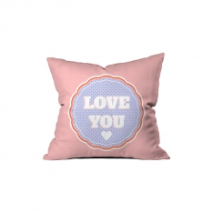 ''Love You'' Pembe Puantiyeli Kırlent Sev.G