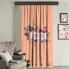 """Love You"" Orange Printed Panel Curtain, Single Panel"