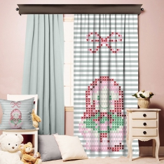 Matroyoshka Pattern Single Piece Curtain