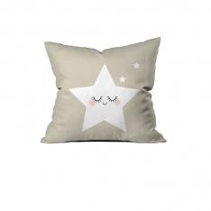 Sevimli Uyuyan Yıldız Ekru Kırlent