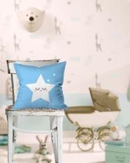 Sevimli Uyuyan Yıldız Mavi Kırlent