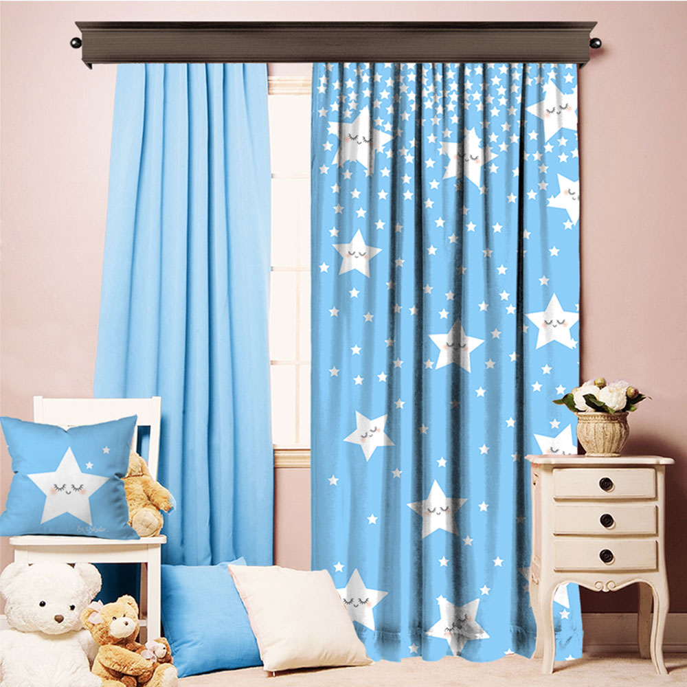 Combi Products Cute Sleeping Stars Blue Printed Carpet