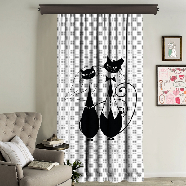 Siyah İllüstrasyon Kedi Çifti