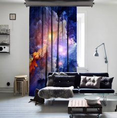 In The Deep Of Nebula Space One Piece Curtain