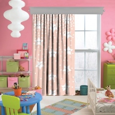 Sweet Sleeping Stars Pink Single Piece Curtain