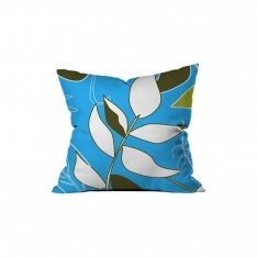 Tropical Çiçekli Mavi Kırlent 1