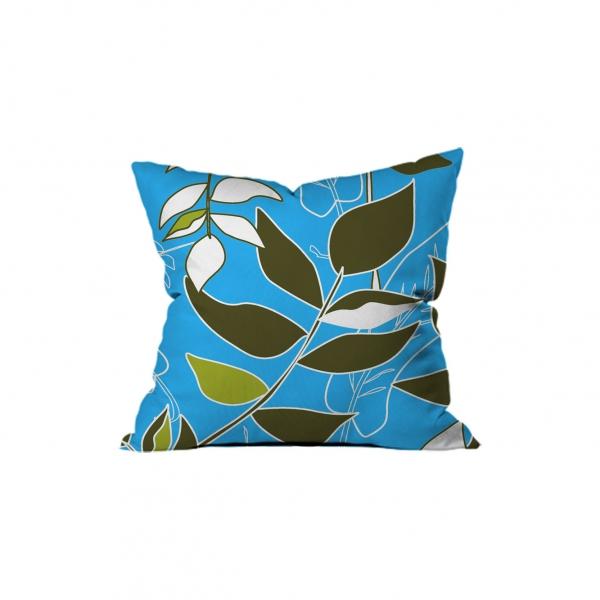 Tropical Çiçekli Mavi Kırlent 2