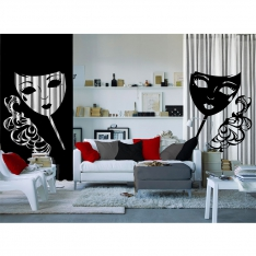 Women's Mask and Black and White Tulle Curtain 2 Pieces