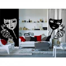 Kadın Maskesi ve Siyah Beyaz Tül Perde 2 Kanat