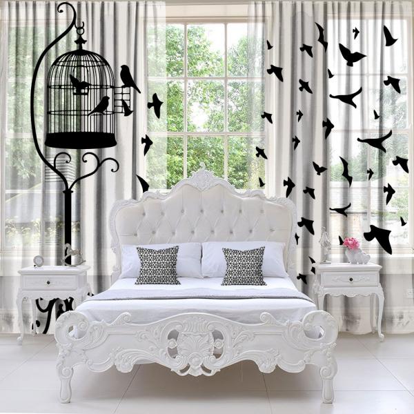 Kuş Kafesi ve Özgür Kuşlar Tül Perde 2 Kanat