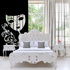 Black-White Degrade Tulle Curtain Single Piece