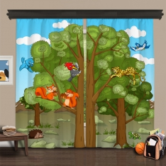 Cipcici Theatre Forest Family 2 Panel Curtain