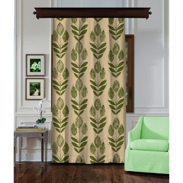 Leaf Seed Cream-Green Single Piece Curtain