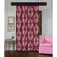 Leaf Seed Cream-Claret Red Single Piece Curtain