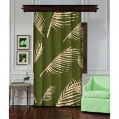 Palmiye Yapraklı Yeşil Tek Kanat Perde