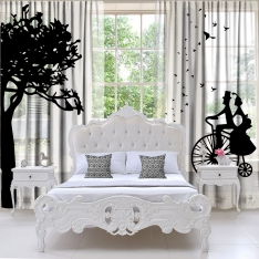 Tree Birds and Love 2  PiecesTulle Curtain Set