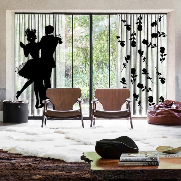 Aşk Dansı ve Güller 2 Kanat Tül Perde Seti