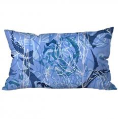 Büyük Çiçekli Kolaj Mavi Kırlent 2