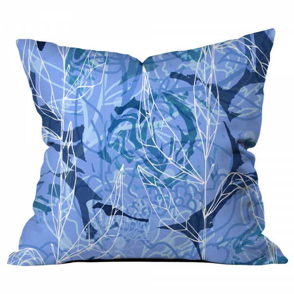 Büyük Çiçekli Kolaj Mavi Kırlent