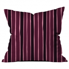Scattered Lines Claret red - Black Cushion