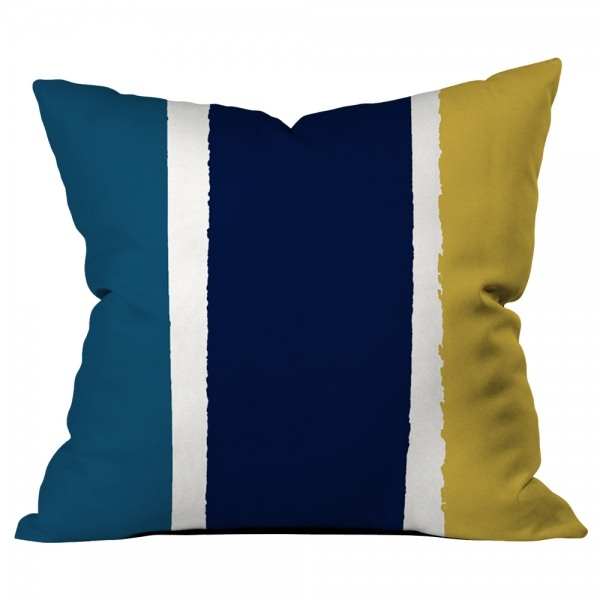 Dağınık Çizgiler Lacivert-Sarı-Mavi Kırlent 2