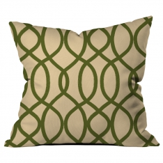 Ring Pattern Creme-Green Cushion