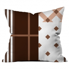 Coffee White Stripe Collage Cushion