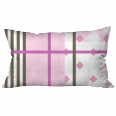 Pink White Stripe Collage Cushion 2