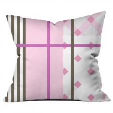 Pink White Stripe Collage Cushion
