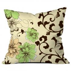 Yeşil-Krem Çiçekli Kahve Dallı Kırlent