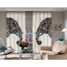 Ethnic Elephant Figured 2 Panel Curtain