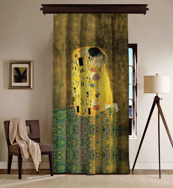 Gustav Klimt - Öpücük BlackOut Perde